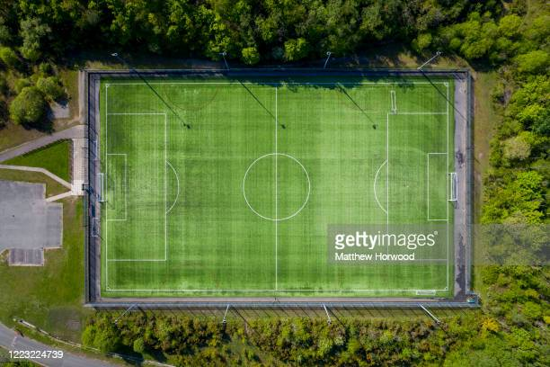 An aerial view of the empty Maritime Recreation ground pitch during the coronavirus lockdown period on May 6, 2020 in Pontypridd, United Kingdom. The...
