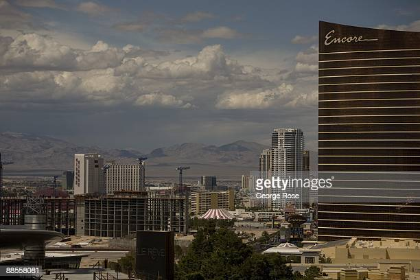 An aerial view of the Encore Hotel Casino Circus Circus and other highrise buildings along The Strip is seen in this 2009 Las Vegas Nevada summer...