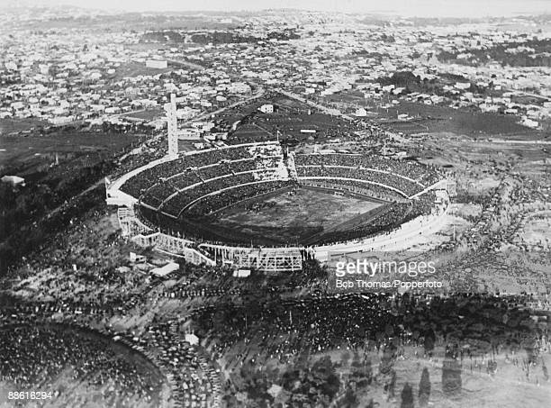 An aerial view of the Estadio Centenario in Montevideo venue for the first FIFA World Cup Final 30th July 1930 Uruguay defeated Argentina 42 to win...
