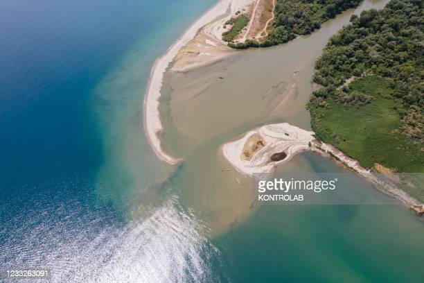An aerial view of the estuary of the Crati river, nature reserve, protected area. It is one of the most important natural reserves in southern Italy,...