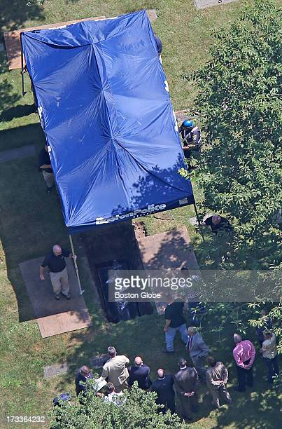 An aerial view of the exhumation of Albert DeSalvo's remains at Puritan Memorial Park DeSalvo is the confessed Boston Strangler