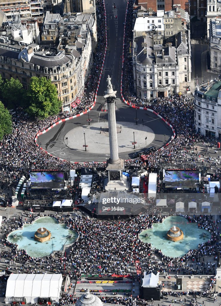 An aerial view of the F1 Live in London event at Trafalgar Square on July 12, 2017 in London, England. F1 Live London, the first time in Formula 1 history that all 10 teams come together outside of a race weekend to put on a show for the public in the heart of London.