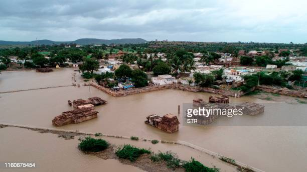An aerial view of the famous Lad Khan Temple in Aihole submerged in floodwaters in Bagalkot district in Karnataka about 460 kms of the South Indian...