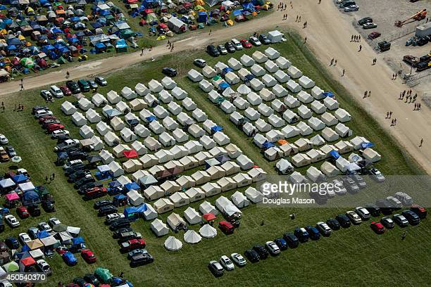 An aerial view of the festival site during the 2014 Bonnaroo Music Arts Festival on June 12 2014 in Manchester Tennessee