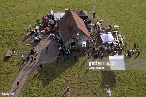 An aerial view of the filmset of the new Quentin Tarantino movie 'Inglorious Bastards' on October 10 2008 in Sebnitz Germany Quentin Tarantino's...