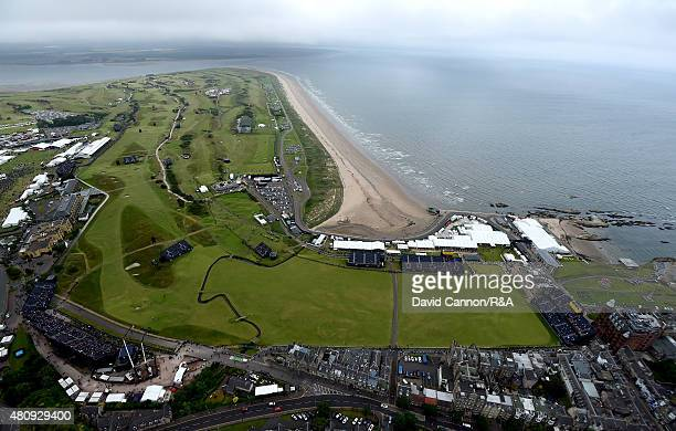 An aerial view of the first 17th and 18th holes during the first round of the 144th Open Championship at The Old Course on July 16 2015 in St Andrews...