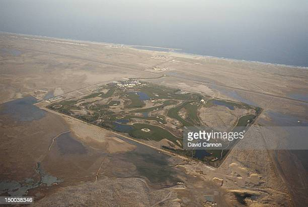 An aerial view of the first green grass golf course in the Middle East on 18th February 1990 at the Emirates Golf Club in Dubai, United Arab Emirates.