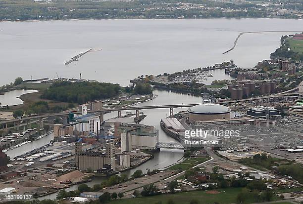 An aerial view of the First Niagara Center and Lake Erie as photographed from an airplane on September 29 2012 in Buffalo New York