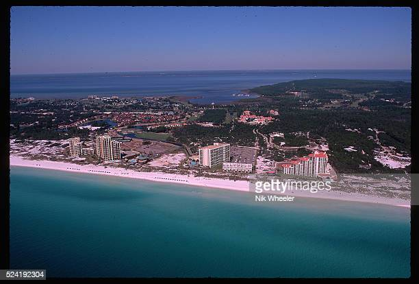 An aerial view of the Florida Panhandle city of Destin, overlooking the Gulf of Mexico.