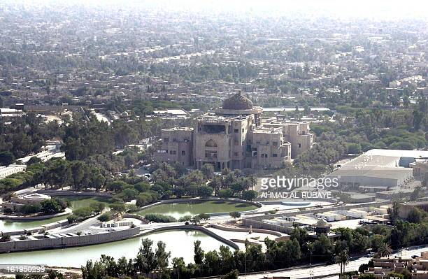An aerial view of the former Zuhur royal palace at Nusur square in what is now the fortified 'Green Zone' where the US embassy and Iraqi parliament...