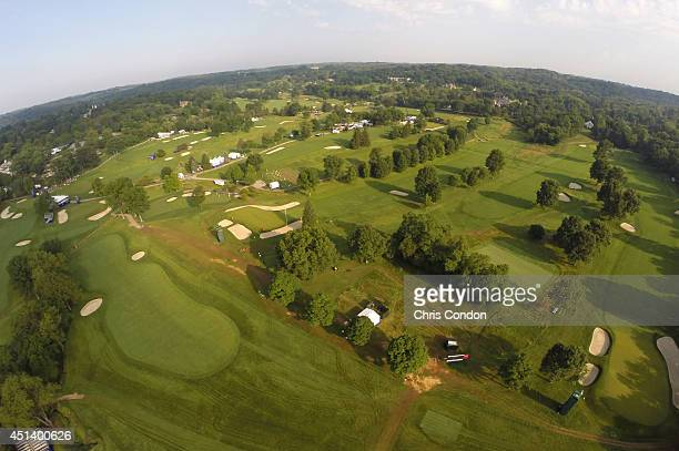 An aerial view of the Fox Chapel golf course during the third round of the Constellation SENIOR PLAYERS Championship at Fox Chapel Golf Club on June...