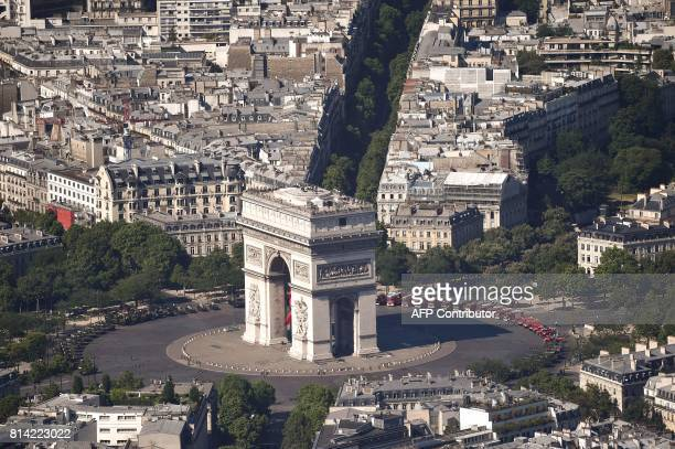 An aerial view of the French capital Paris seen on July 14 2017 as the country celebrates Bastille Day The parade on Paris's ChampsElysees will...