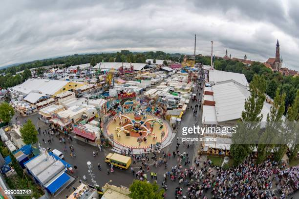 An aerial view of the Gaeubodenvolksfest in Straubing Germany 13 August 2017 The beer festival and travelling fun fair is expected to attract some 14...