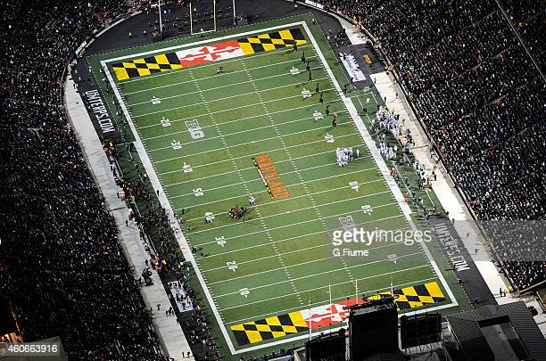 An aerial view of the game between the Maryland Terrapins and the Michigan State Spartans at Byrd Stadium on November 15 2014 in College Park Maryland