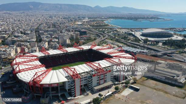 An aerial view of the Georgios Karaiskakis Stadium the home stadium of Olympiacos FC prior to the UEFA Europa League round of 16 first leg match...