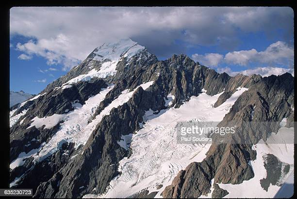 An aerial view of the glacierclad peak of Mount Tasman
