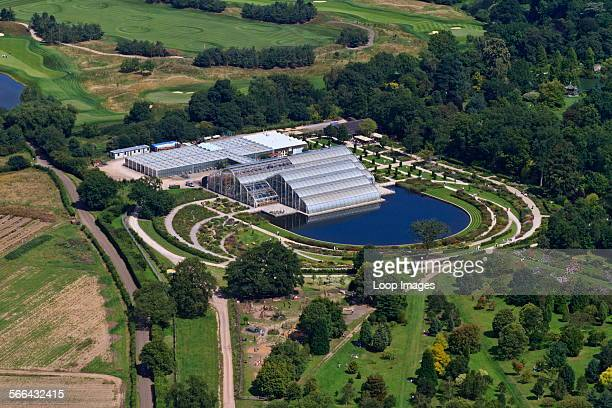 An aerial view of The Glasshouse which is the centrepiece of the Royal Horticultural Gardens at Wisley