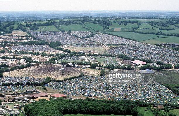 An aerial view of the Glastonbury Festival near Pilton Somerset circa 1995