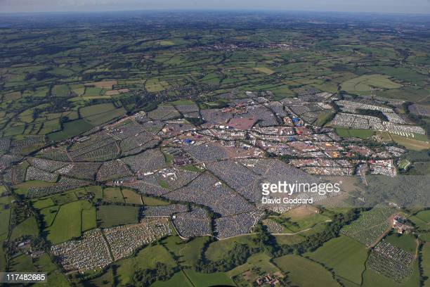 An aerial view of the Glastonbury Festival site at Worthy Farm in Pilton on June 26 2011 in Glastonbury England The festival which started in 1970...