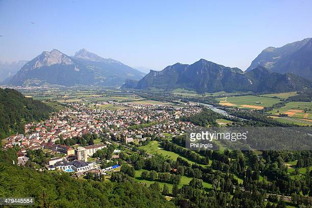 An aerial view of the golf course during the second round of the Swiss Seniors Open played at Golf Club Bad Ragaz on July 4, 2015 in Bad Ragaz,...