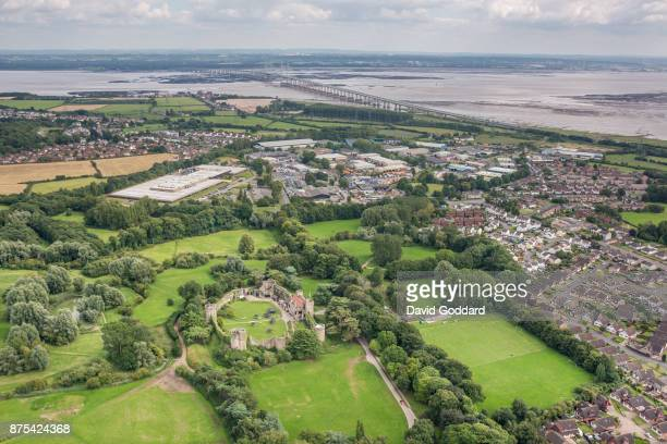 An aerial view of the Grade I listed Caldicot Castle and the town of Caldicot on August 10 2017 in Monmouth Wales