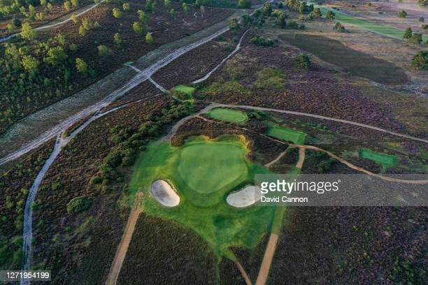 An aerial view of the green on the 183 yards par 3, seventh hole at Hankley Common Golf Club on September 10, 2020 in Tilford, England.