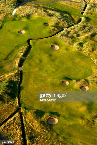 An aerial view of the green on the 337 yds par 4 3rd hole 'Jockie's Burn' on the Carnoustie Championship Course venue for the 2007 Open Championship...
