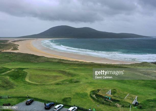 An aerial view of the green on the ninth hole at the Isle of Harris Golf Club with the Sacrista beach behind on the Isle of Harris in the Outer...