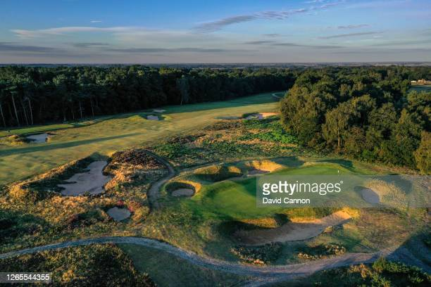 An aerial view of the green on the par 3, fifth hole on the Hotchkin Course at Woodhall Spa Golf Club on August 04, 2020 in Woodhall Spa, England.
