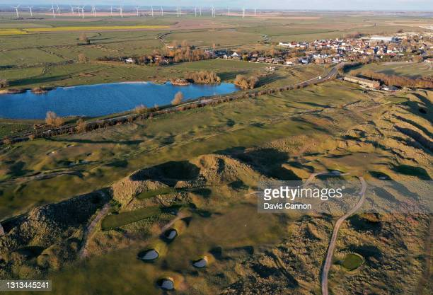 An aerial view of the green on the par 4, sixth hole with the par 3, seventh hole on the Old Course at Rye Golf Club on April 15, 2021 in Camber,...