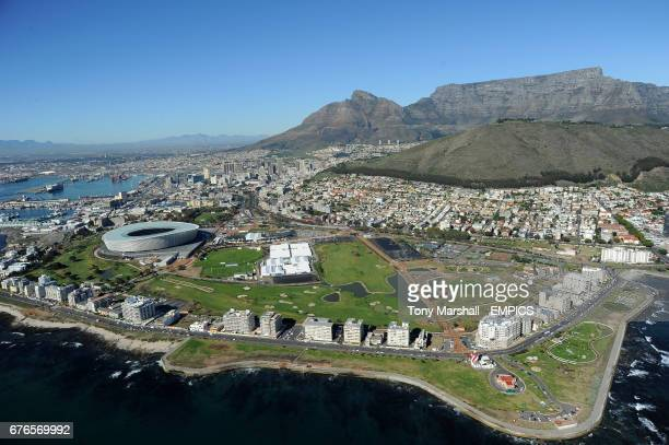 An aerial view of the Green Point Stadium in Cape Town
