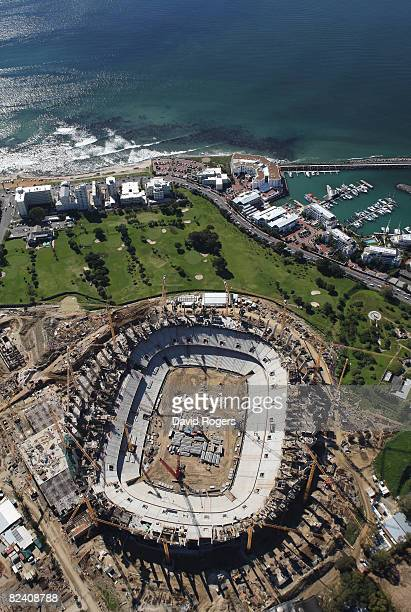 An aerial view of The Green Point Stadium under construction on August 18 2008 in Cape Town South Africa The stadium will host the semi finals of the...