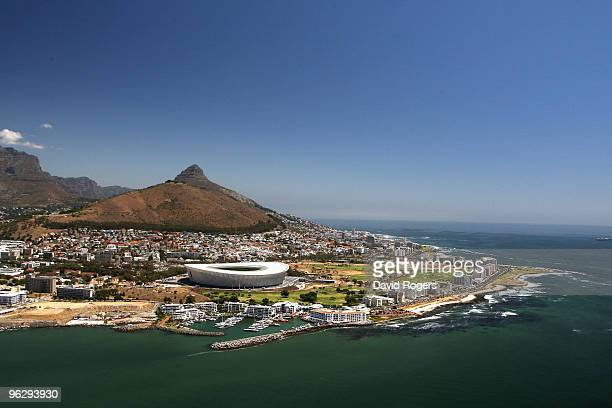 An aerial view of the Green Point Stadium which will host matches in the FIFA 2010 World Cup, on the January 26, 2010 in Cape Town, South Africa.