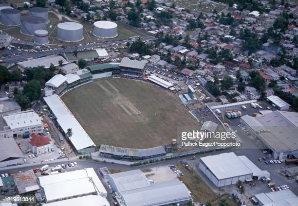 An aerial view of the ground and the surrounding neighbourhood looking north during the 4th Test match between West Indies and England at the...