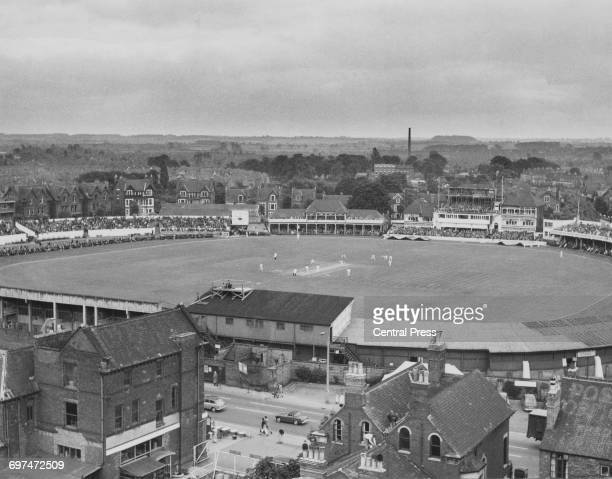 An aerial view of the ground as crowds of spectators in the grandstand and the Pavilion during the first day of the first Test match of The Ashes...