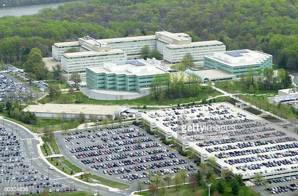 An aerial view of the grounds and headquarters of the Central Intelligence Agency now known as the George Bush Center for Intelligence