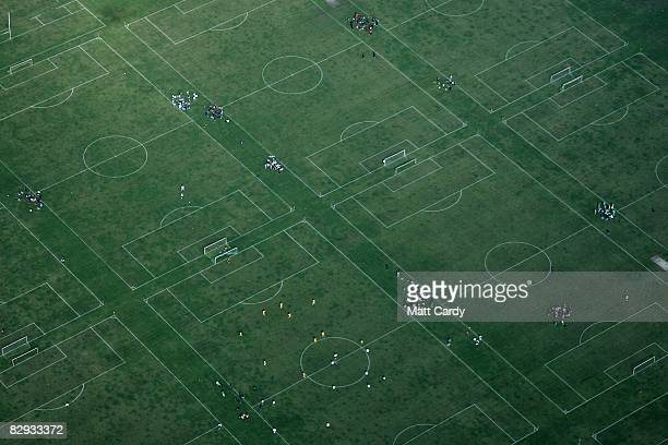 An aerial view of the Hackney Marshes football pitches in North London on September 21 2008 in London England London has enjoyed a weekend of fine...