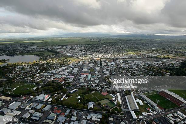An aerial view of the Hamilton Street Circuit prior to the Hamilton 400 which is round three of the V8 Supercars at the Hamilton City Street Circuit...
