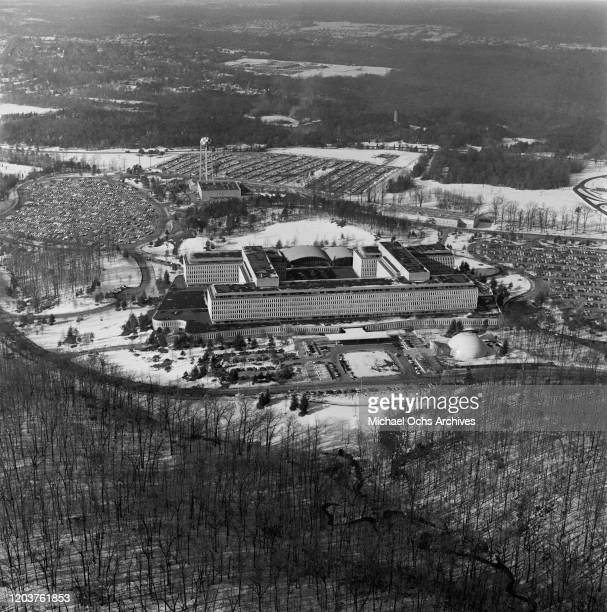 An aerial view of the headquarters of the CIA in Langley, Virginia, USA, circa 1970. The building was later renamed the George Bush Center for...