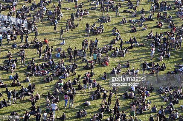An aerial view of the Hellfest heavy metal and hard rock music festival Hellfest in Clisson near Nantes western France on June 19 2015 AFP PHOTO...