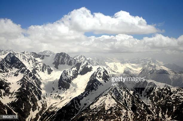 An aerial view of The Hindu Kush Mountain Range near Badakhshan on July 12 2009 The Hindu Kush represents the southern edge of a great central...
