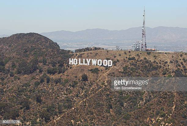 An aerial view of the Hollywood Sign in the Hollywood Hills on July 13 2010 in Hollywood California