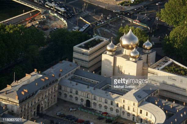 An aerial view of the Holy Trinity Cathedral and the Russian Orthodox Spiritual and Cultural Center in Central Paris France June2019 Photo by Mikhail...