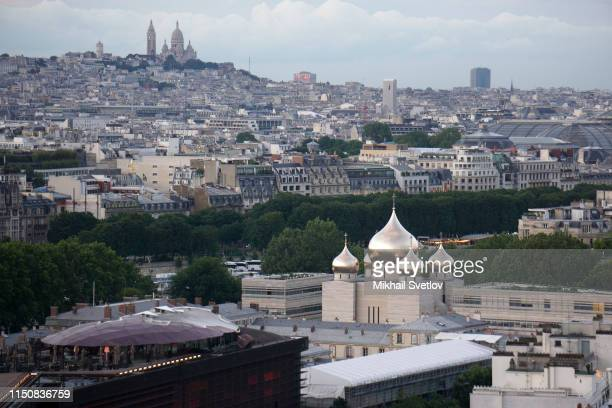 An aerial view of the Holy Trinity Cathedral of Russian Orthodox Church and the Russian Orthodox Spiritual and Cultural Center in Central Paris...