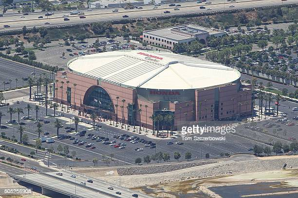 An aerial view of the Honda Center the home of the Anaheim Ducks on July 13 2010 in Anaheim California