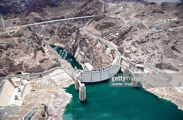 an aerial view of the hoover dam - hoover dam stock photos and pictures