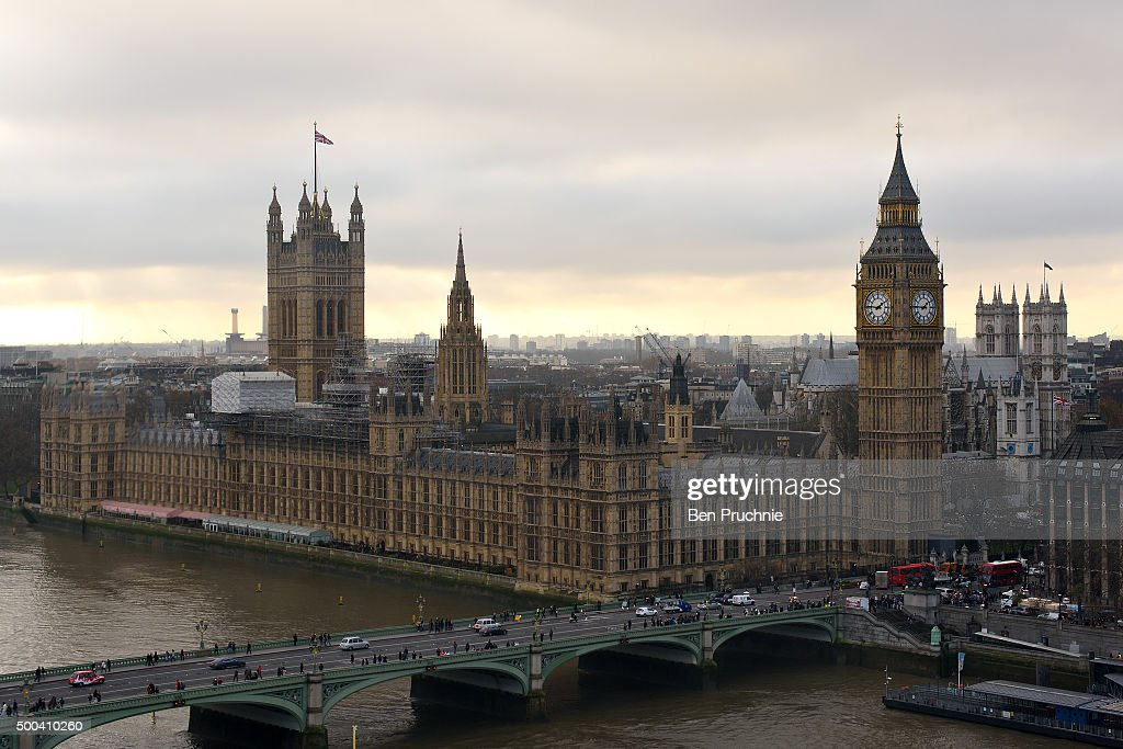 An aerial view of The Houses of Parliament as seen from the London Eye December 7, 2015 in London, United Kingdom.