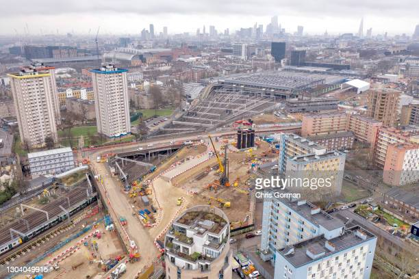 An aerial view of the HS2 site at Euston Station on February 22,2021 in London,England. The site is the subject of controversy with protesters...