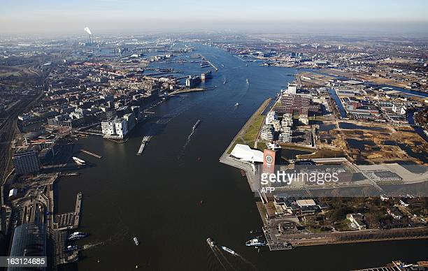 An aerial view of the Ij lake taken on March 4 2013 in Amsterdam The lake will be the location of the boat trip next April 30 at the inauguration of...