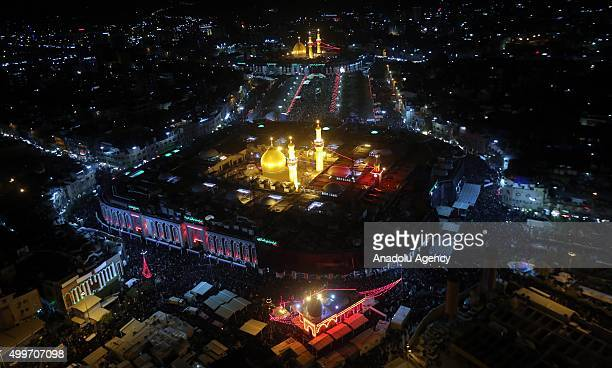 An aerial view of the Imam Hussein Shrine and Imam Abbas Shrine is seen as Shiite pilgrims gather for the Arbaeen ceremony in the Iraqi city of...
